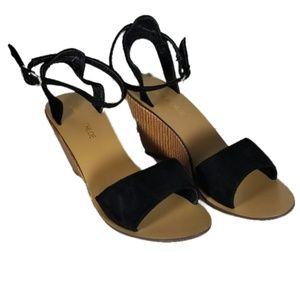 Women's Stacked Wood Wedge Heeled Sandals